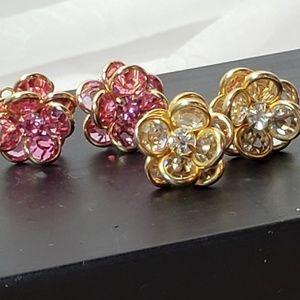 Vintage Sworovski Crystal Earrings - 2 Pairs!